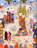 According to the Shia tradition, Muhammad formally designated his son-in-law, Ali ibn Abi Talib (the Caliph Ali) as his successor at the oasis of Gadir Khum, located mid-way between the holy cities of Mecca / Makkah and Medina, in the Arabian Hijaz. The Sunni tradition disputes this event ever took place.<br/><br/>  Representations of the Prophet Muhammad are controversial, and generally forbidden in Sunni Islam (especially Hanafiyya, Wahabi, Salafiyya). Shia Islam and some other branches of Sunni Islam (Hanbali, Maliki, Shafi'i) are generally more tolerant of such representational images, but even so the Prophet's features are generally veiled or concealed by flames as a mark of deep respect.
